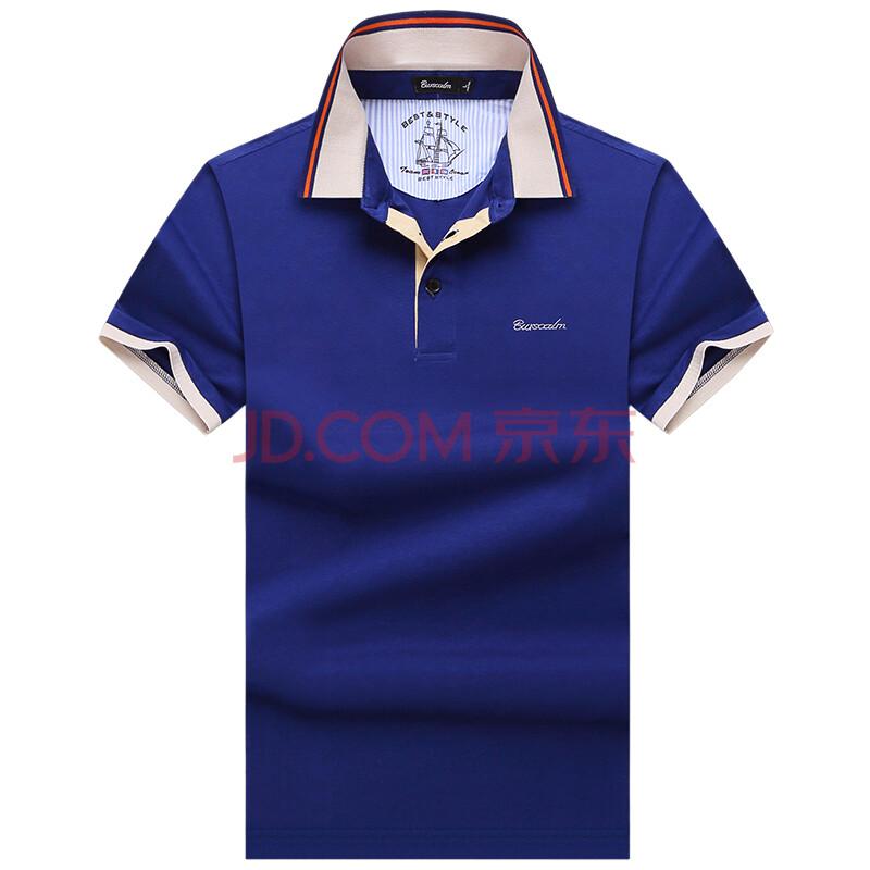 伯思凯男士t恤 商务休闲翻领免烫纯棉短袖t恤 高档设计男t恤 蓝色 190