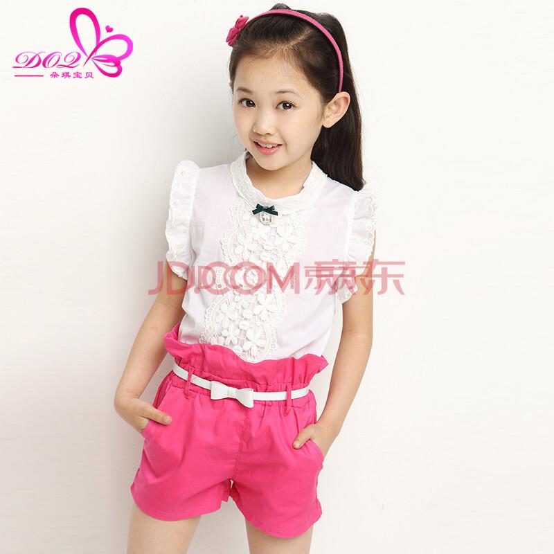 朵琪宝贝童装女夏装套装儿童衣服小女孩短袖t恤