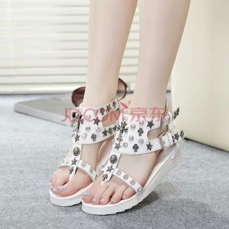 罗马鞋坡跟凉鞋_平跟女式鞋女款罗马鞋坡跟凉鞋镂空夹趾鞋休闲潮鞋子