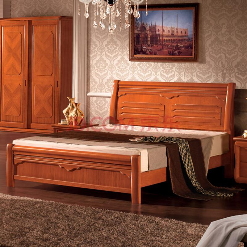 中式实木床 现代简约全实木家具
