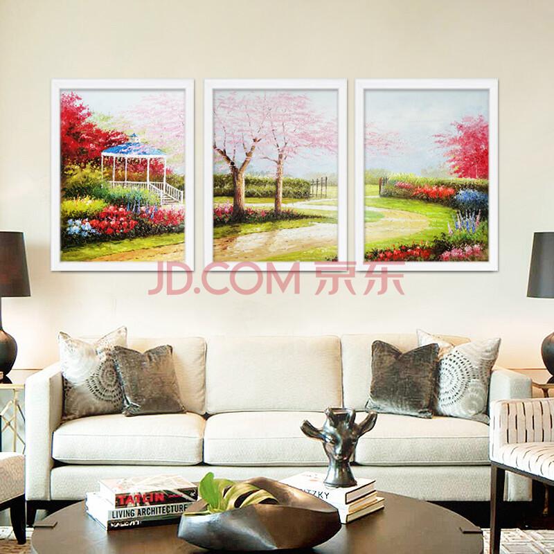 手绘油画客厅风景装饰画三联画餐厅挂画墙画壁画 地中海山水画 樱花树