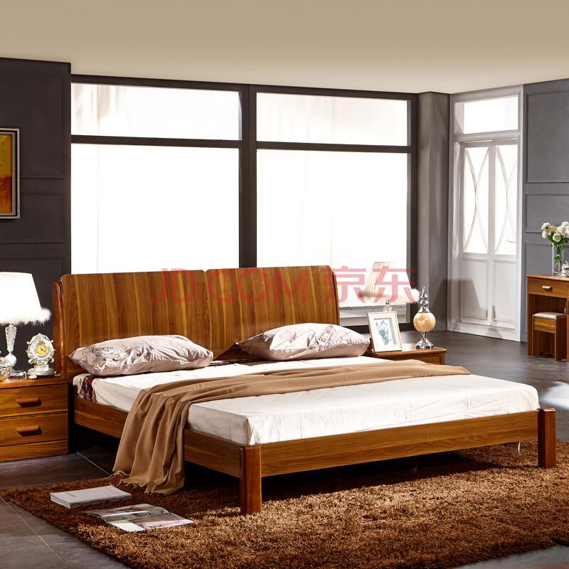 中式简约板式床 实木床 北欧宜家 双人床 家具组合 婚床 大床 木板床