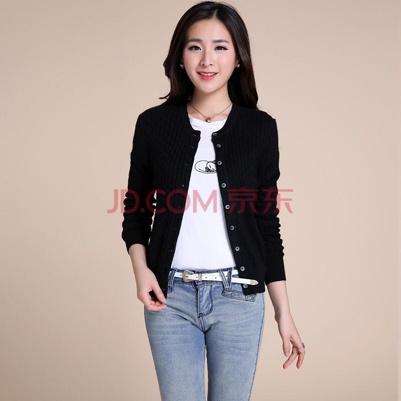 锦昂2014夏季韩版毛针织衫女外套羊绒麻花开衫短款空调衫毛衣 黑色 xl