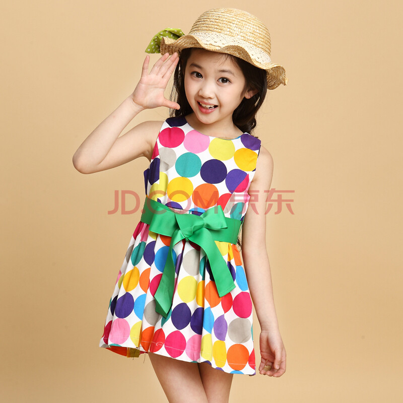 模特天使 女童夏装波点连衣裙 新款儿童中大童