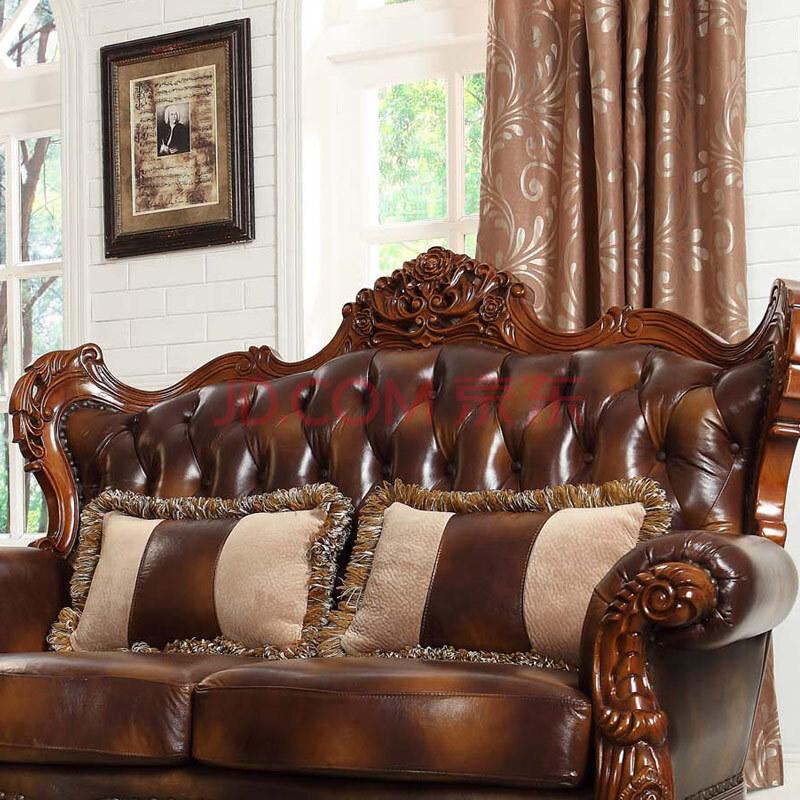 经典欧式美式乡村风格高档头层真皮组合沙发
