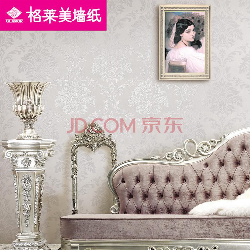 g格莱美墙纸无纺壁纸简约条纹美式大马士革卧室客厅背景墙查尔斯图片