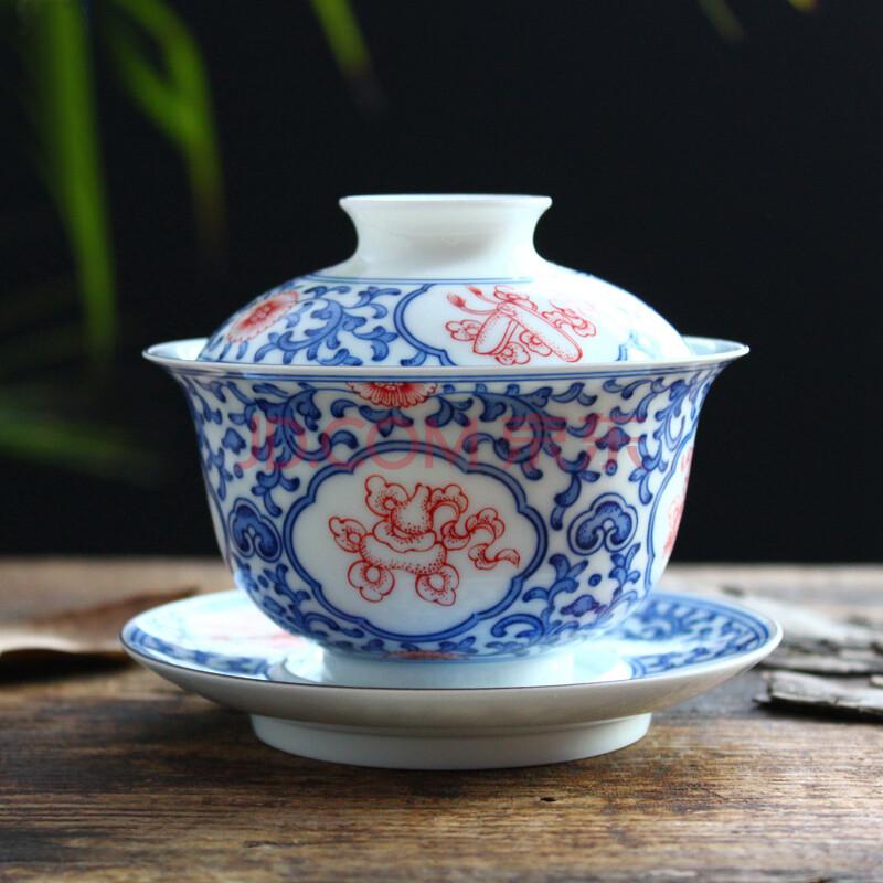 帝博钰 景德镇陶瓷手绘茶具 三才盖碗泡茶杯仿古八宝缠枝莲 古色古香