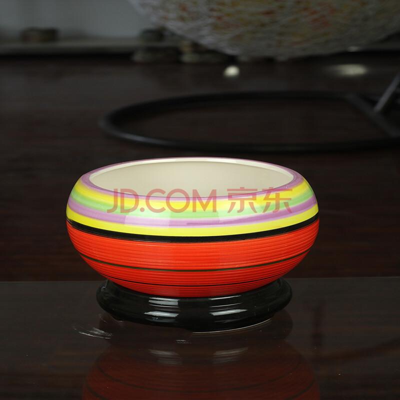 锦枫 高档陶瓷花盆 带底托时尚盆栽花盆 条纹图案 红色条纹