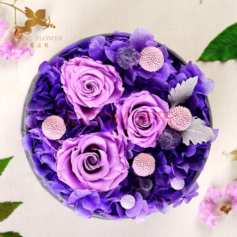 【以爱之名】 永生玫瑰花 鲜花速递 保鲜方形鲜花礼盒