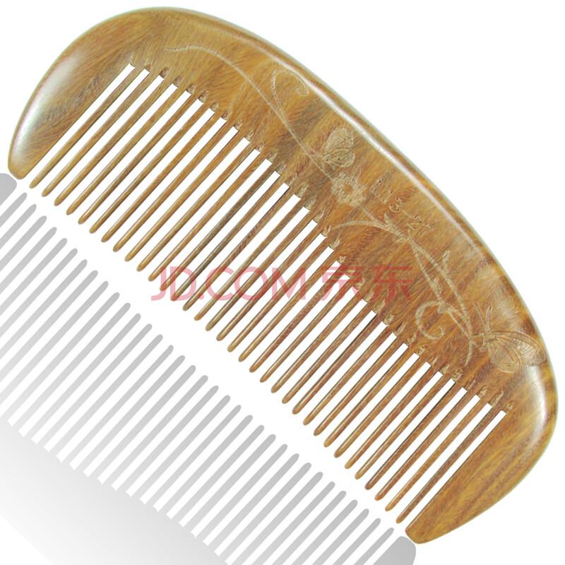正品檀木梳 绿檀木梳 进口绿檀手工木梳子月梳细齿梳子 包装布口袋