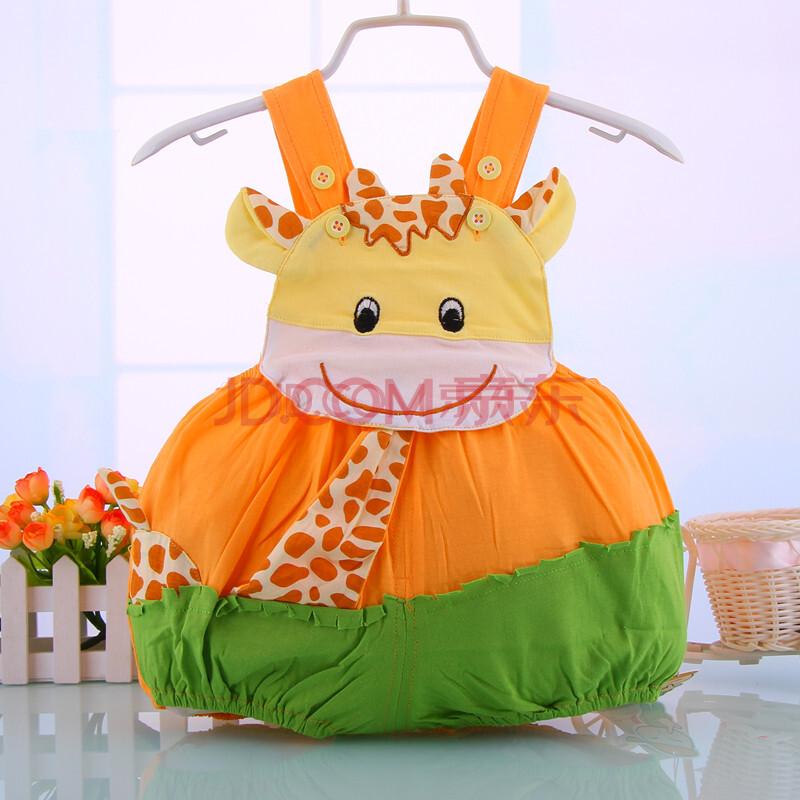 小兔多多西瓜服卡通动物造型衣夏薄款婴儿连体衣纯棉儿童 桔色 90