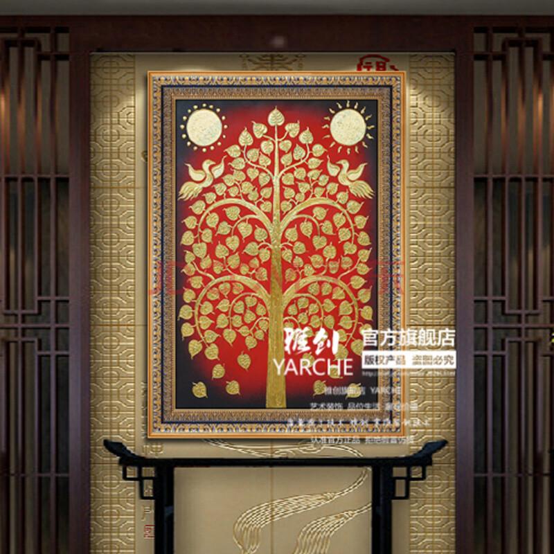 纯手绘东南亚泰式装饰画家居酒店设计有框画