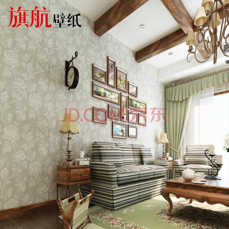旗航壁纸 环保纯纸 美式卧室客厅电视背景墙满铺墙纸图片
