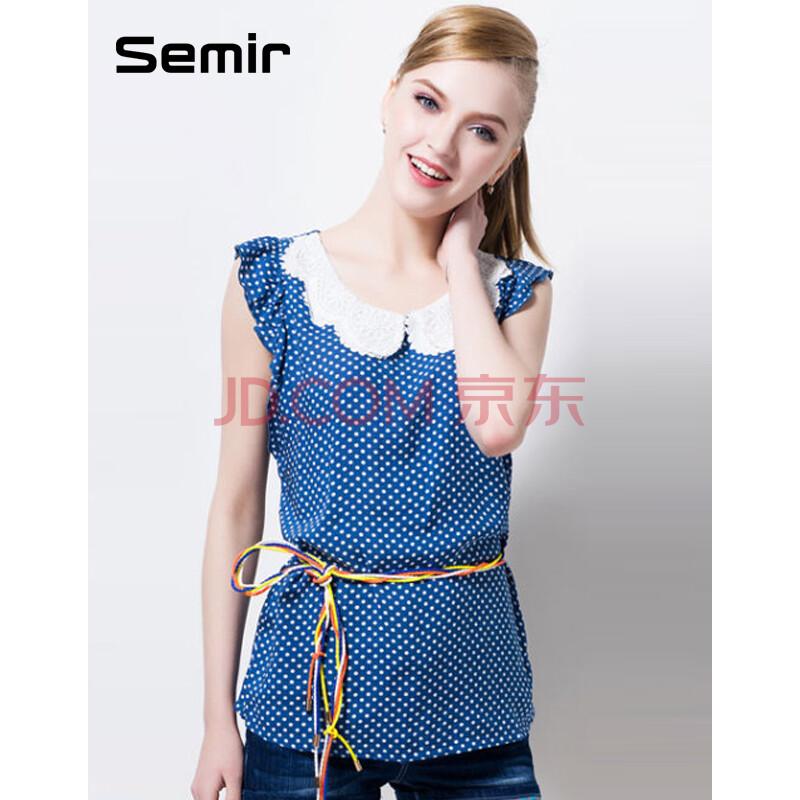森马2014夏装新款 女装衬衫 娃娃领波点印短袖衬衣 韩版潮女衬衣 蓝