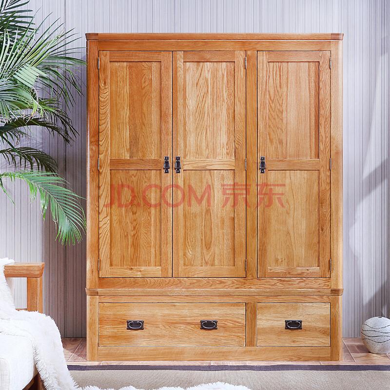 喜之林 实木衣柜 实木衣橱 三门衣柜实木家具仿古色1002 仿古色