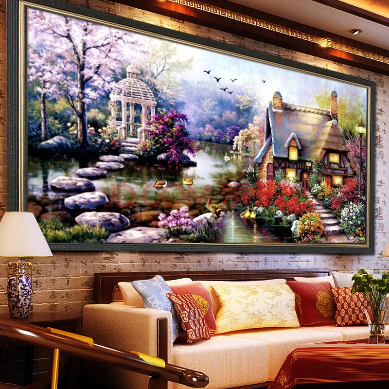 十字绣100精准印花客厅大画十字绣花园小屋世界名画图片