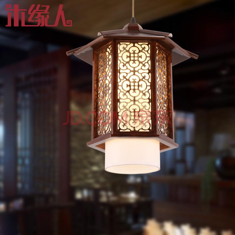 中式吊灯仿古典单头实木艺灯复古灯笼现代时尚餐厅饭厅茶楼书房走廊过图片