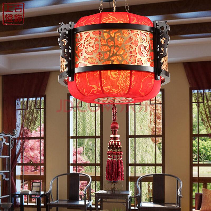 古典宫廷风格羊皮吊灯 中式餐厅灯餐吊灯中国风复古布艺灯具2116 直径
