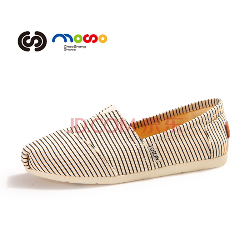 MOSO摩索 2014春夏新款套脚条纹懒人鞋 低帮孕妇休闲鞋 帆布女鞋单鞋M1019