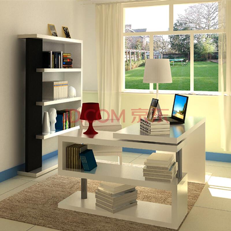 伊媛简约写字台转角书桌书架书柜组合台式电脑桌白色烤漆 1.4米