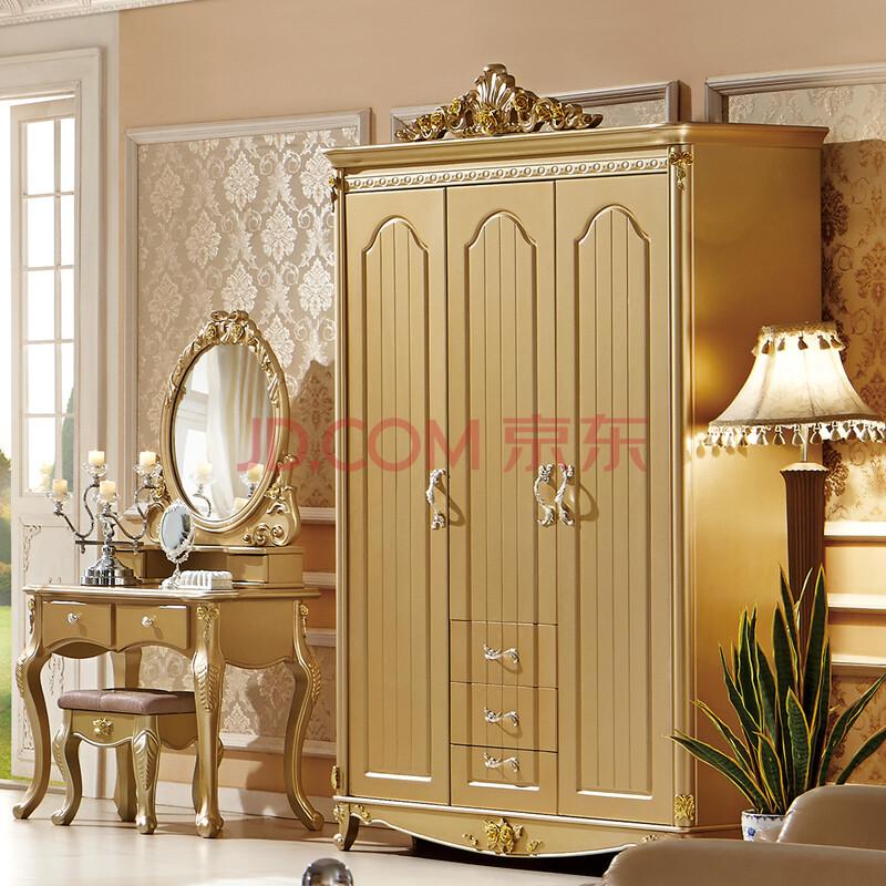 白色住宅家具衣柜田园韩式移门实木衣橱fd0119衣柜 香槟金色带顶花 3