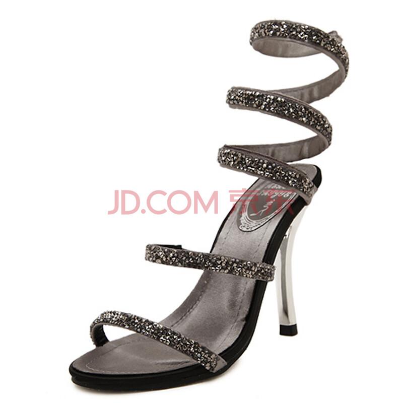 2015年夏季新款超高跟纽带凉鞋金属装饰细跟后空性感细带组合女式凉鞋