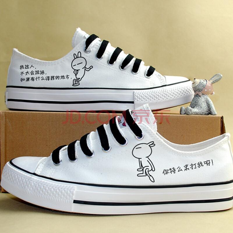 休闲鞋低帮涂鸦鞋板鞋个性潮流手绘鞋卡通周边白色