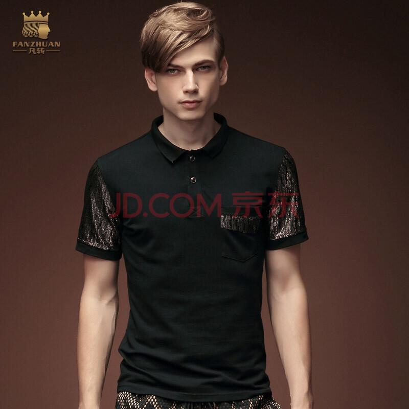 设计师品牌凡转夏季黑色男士休闲纯棉polo衫男装上衣个性修身潮流t恤
