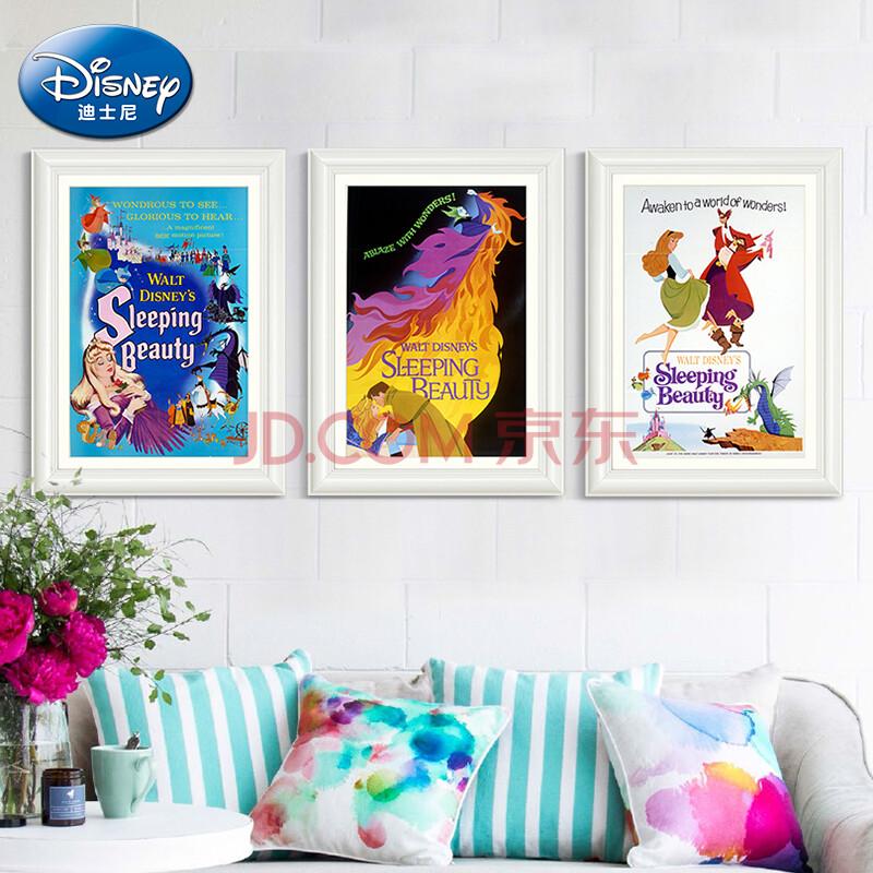 画挂画卡通客厅装饰画墙画壁画卧室画 cdf款一套 典雅白色画框43*63cm
