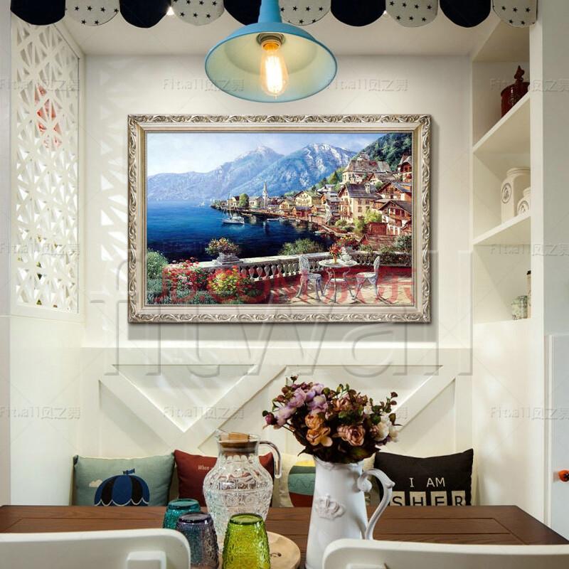 恒美 手绘油画装饰画地中海山水风景画餐厅壁画挂画客厅沙发背景墙