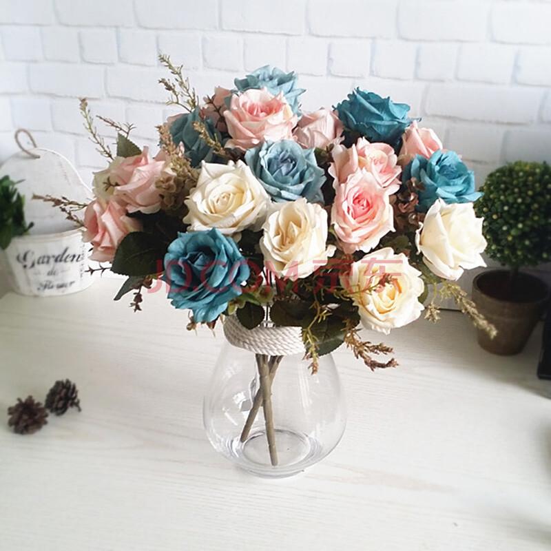 欧式玫瑰装饰花客厅花束油画玫瑰仿真花 款式b 3束花