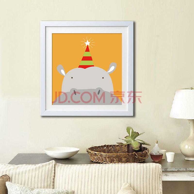 乐逸 小清新儿童房客厅卡通装饰画壁画挂画动物乐园 河马 33x33cm白色
