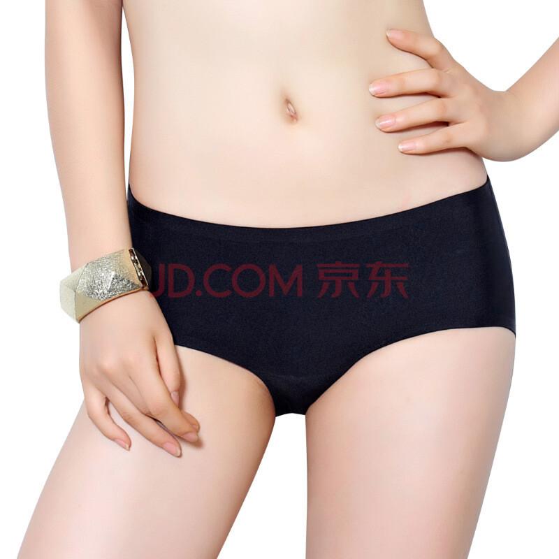 蜜桃杯夏季薄款一片式无痕内裤女士性感棉底档低腰提