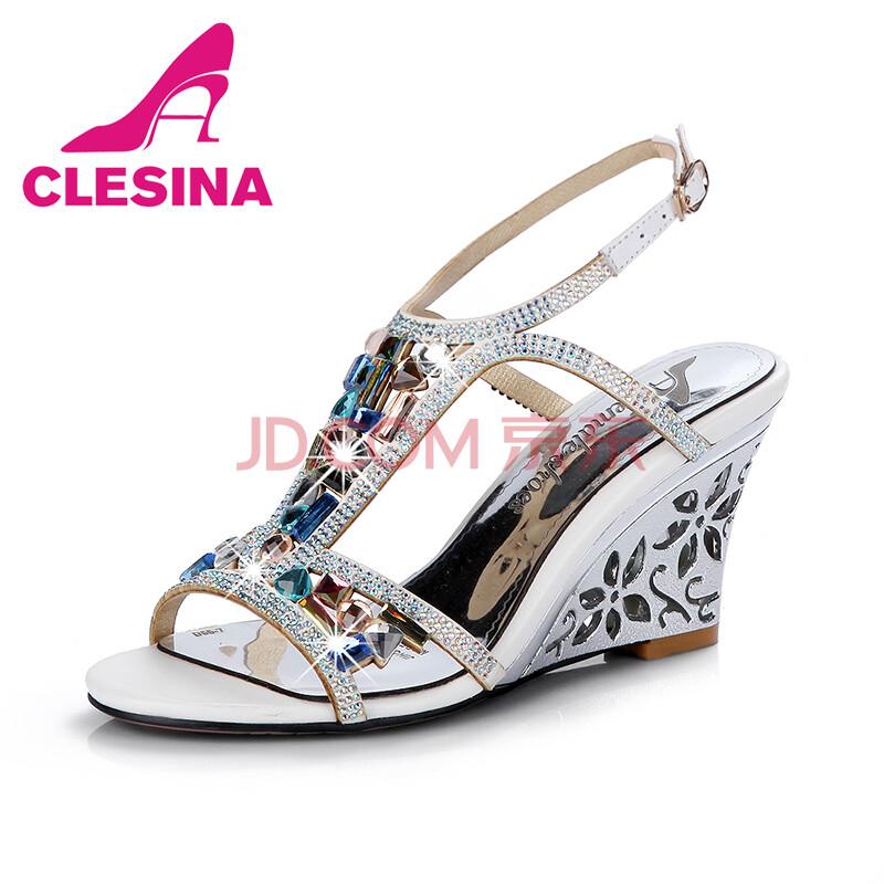 克雷丝娜2014水钻新款面罩坡跟凉鞋女欧美高跟女鞋鱼嘴鞋d55-91白色人工呼吸v水钻时尚图片