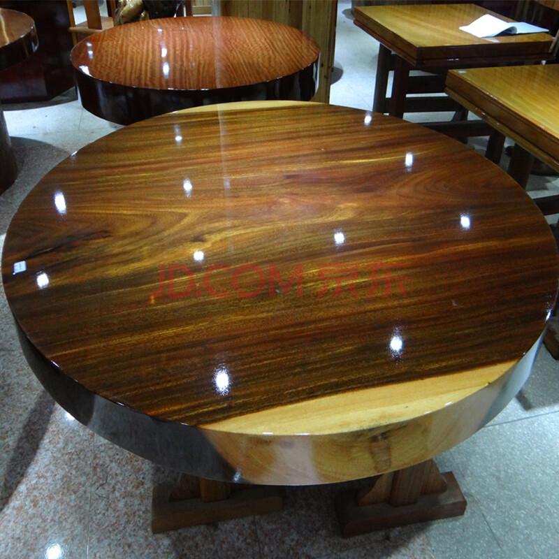 聚盛堂 圆餐桌茶几桌子茶桌 天然年轮原木圆桌子实木家具 非洲红花梨