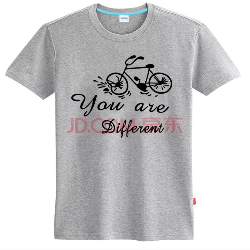 乐酷 潮流个性手绘自行车短袖t恤 男士纯棉加肥加大码半袖体恤衫 浅
