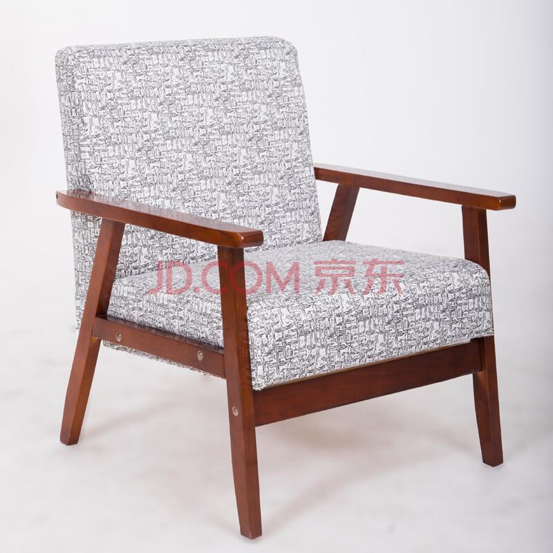 日式小户型客厅咖啡厅沙发椅子 北欧单人双人三人实木布艺休闲椅 黑白图片
