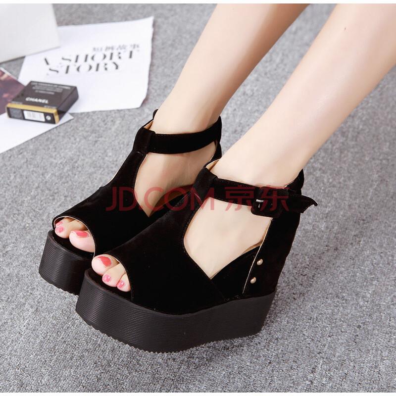 罗马鞋坡跟凉鞋_华富妮高跟女鞋子罗马防水台鱼嘴厚底松糕 坡跟 女 凉鞋