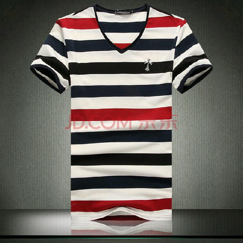 jp色图_焉雨轩 2014新款男士v领条纹短袖t恤jp101-1810 图色