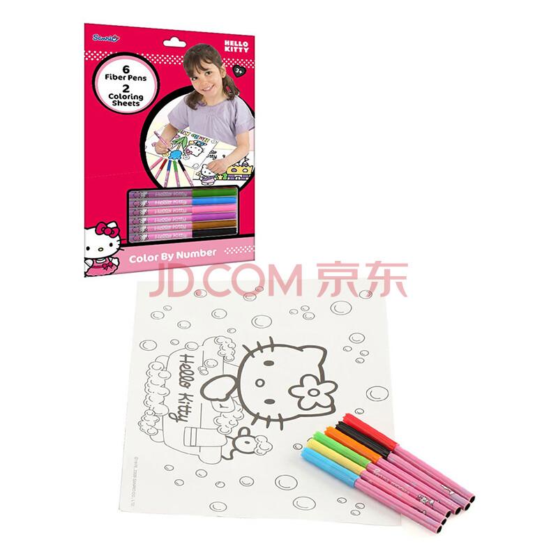 kitty凯蒂猫彩笔填色画套装儿童填色画彩笔