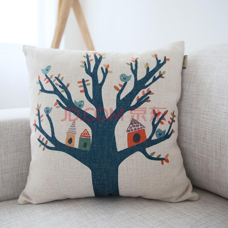 可爱卡通沙发抱枕 仿麻抱枕大象蓝鸟抱枕
