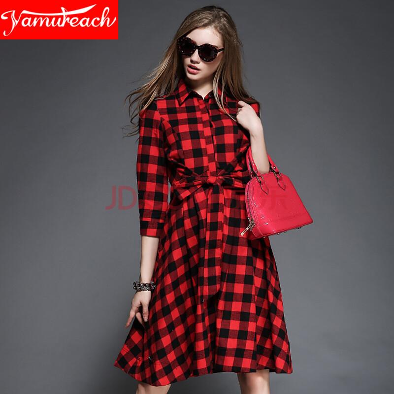 yamureach2015欧美秋冬新款女装优雅格纹连衣裙翻领系带修身中长款 红