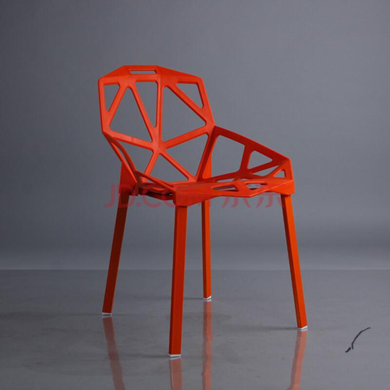 兰冉 上海变形金刚休闲接待椅子会议洽谈椅透气镂空咖啡厅餐椅 橙色