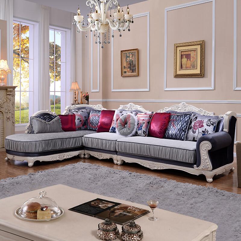 欧式沙发组合布艺 大户型客厅l型实木雕花转角图片
