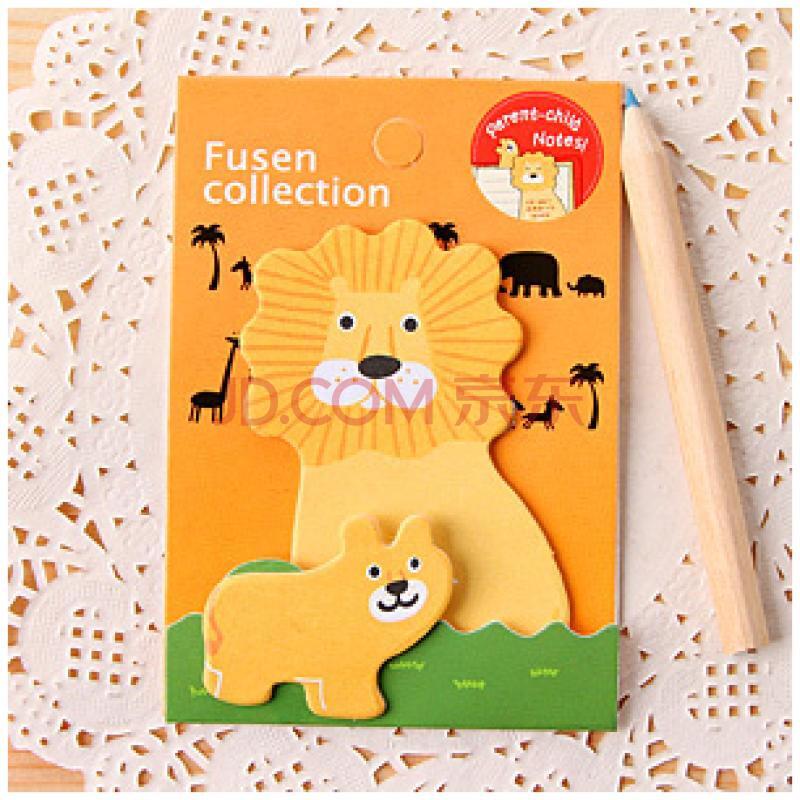 动物亲子动物 创意卡通可爱多次贴 便签本 便利贴 可撕纸 狮子.