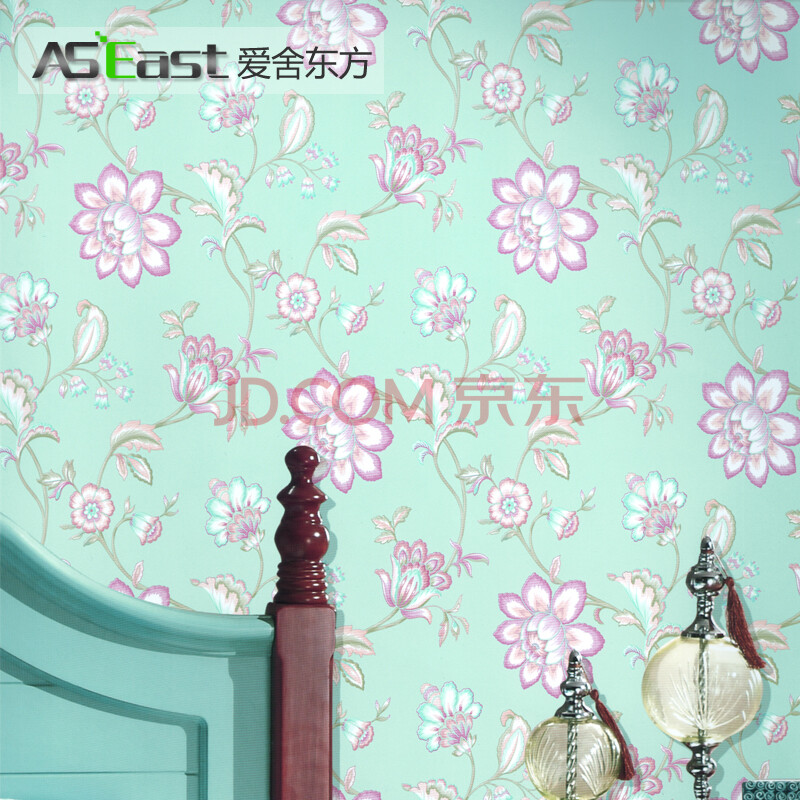 爱舍东方 田园美式优雅花型无纺布壁纸 卧室客厅电视背景墙墙纸 as128图片