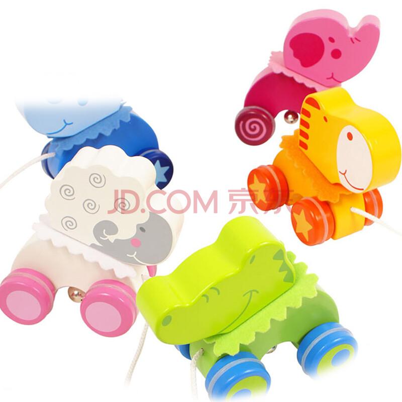 木玩世家 儿童拖拉玩具 拖拉小动物系列玩具 儿童木质小车玩具 绵羊