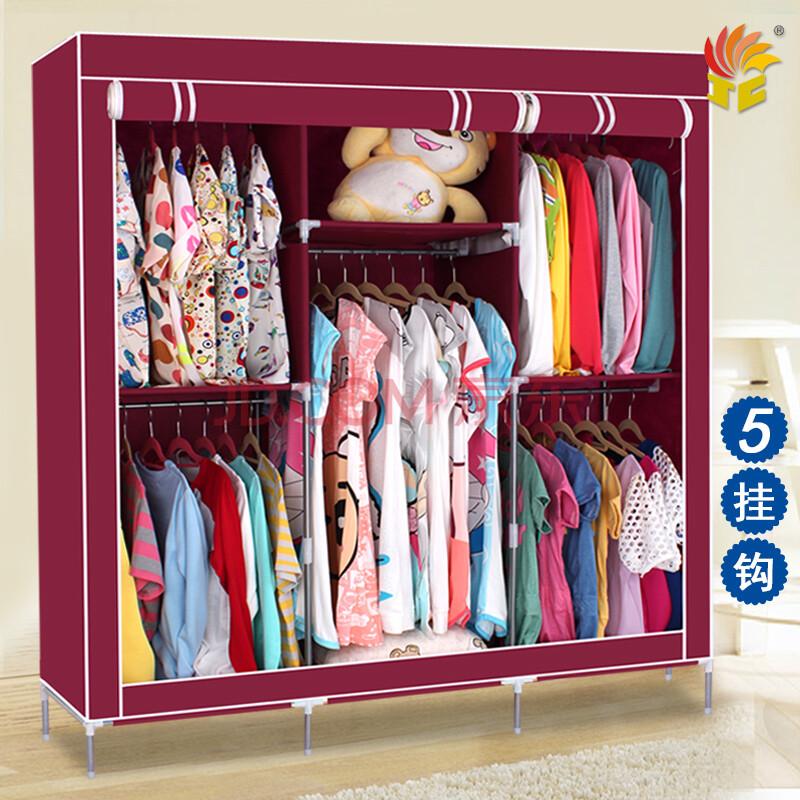 简易 布衣柜 宜家加固 欧式组合折叠布衣橱 大号双人衣服收纳柜 粉色