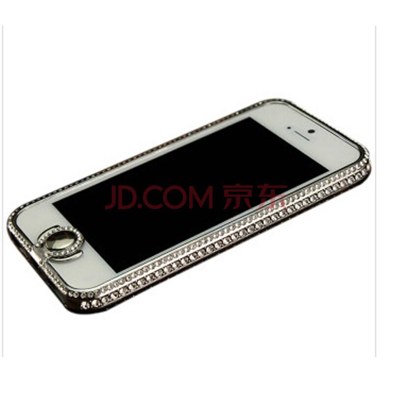 usmile手机壳 适用于苹果5 iphone5/5s 镶钻金属水钻手机边框 黑色白