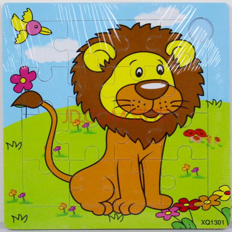 16片儿童拼图益智玩具木质拼图动物卡通动漫早教益智